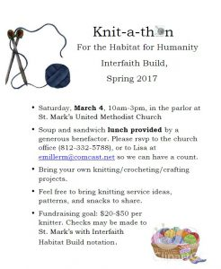 """Knit-a-Thon"" Fundraiser for the CommUNITY Interfaith Build @ St. Mark's United Methodist Church 