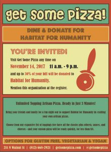 Dine and Donate to Support Habitat! @ Get Some Pizza | Bloomington | Indiana | United States